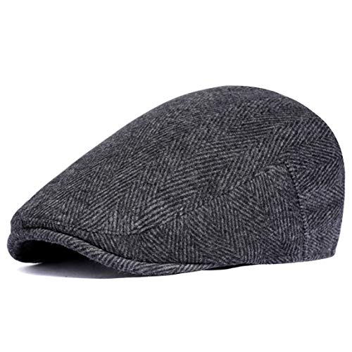 ArtiDeco Barett Cap Herren Gatsby Schirmmütze Newsboy Flat Cap Baskenmütze (Schwarz, Large/Etikettgröße- 59)