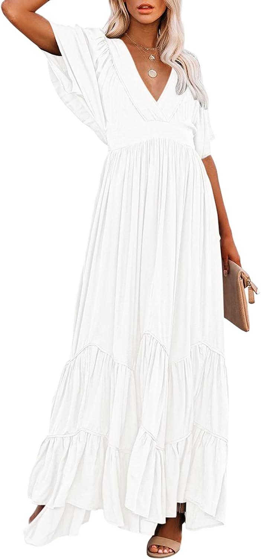 Selowin Women's Summer V Neck Bohemian Maxi Dresses Casual Loose Ruched Short Sleeve High Waist Layer Long Dress