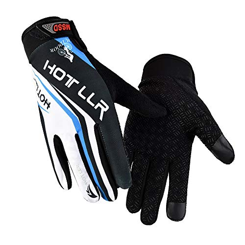 YHT Workout Gym Gloves, Full Finger Touch Screen Fitness Gloves Men Women Protection Extra Grip for Driving Riding Weight Lifting Exercise Outdoor Sports (Blue,X-Large)