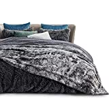 Bedsure Faux Fur Blankets Queen Size - Dark Grey Fuzzy Plush Fluffy Soft Warm Reversible Tie-dye Sherpa Fleece Large Queen Blanket for Bed, 90x90 inches