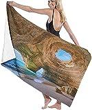 Toalla De Playa,Fibra Extrafina,Absorbente,Algarve Caves Playa Pequeña Big Caves Toalla De Baño Toalla De Playa Ligera Viajes Familiares En Hoteles Natación Fitness 80 * 130 Cm
