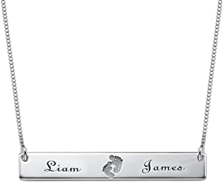 Customized Name Necklace Custom Baby Necklace Pendant Footprint Bar Necklace with Engraving