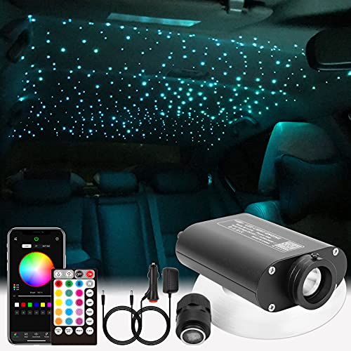 CHINLY Bluetooth 16W RGBW LED Kit de luz de techo de estrella de fibra óptica APLICACIÓN / Control remoto 400pcs * (0.5 + 0.75 + 1.0mm) Fibra óptica de 3m para el hogar / el automóvil