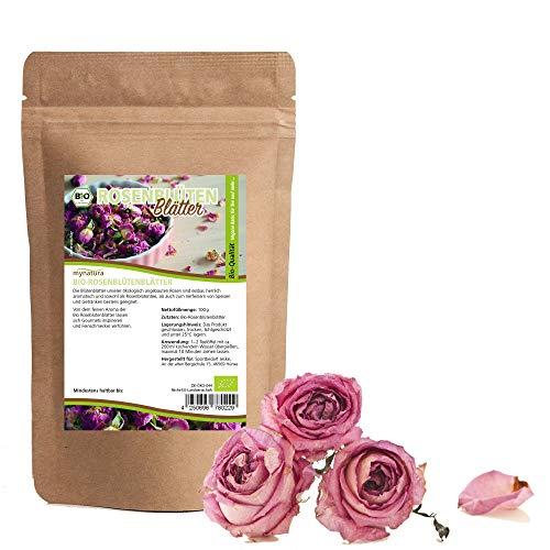 Mynatura Pétales de rose bio séchées 100 g I Thé I bien-être I comestible I thé aux fleurs de rose I produit naturel I décoration I Cosmétique naturel I vegan I DE-ÖKO-044 I 100 g (100 g)