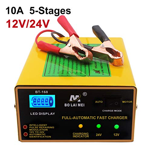 12V/24V Car Battery Charger, 5 Stage 1A to15A Trickle Charger Intelligent Pulse Repair Maintainer with LED Bar Screen for Car Boat Marine