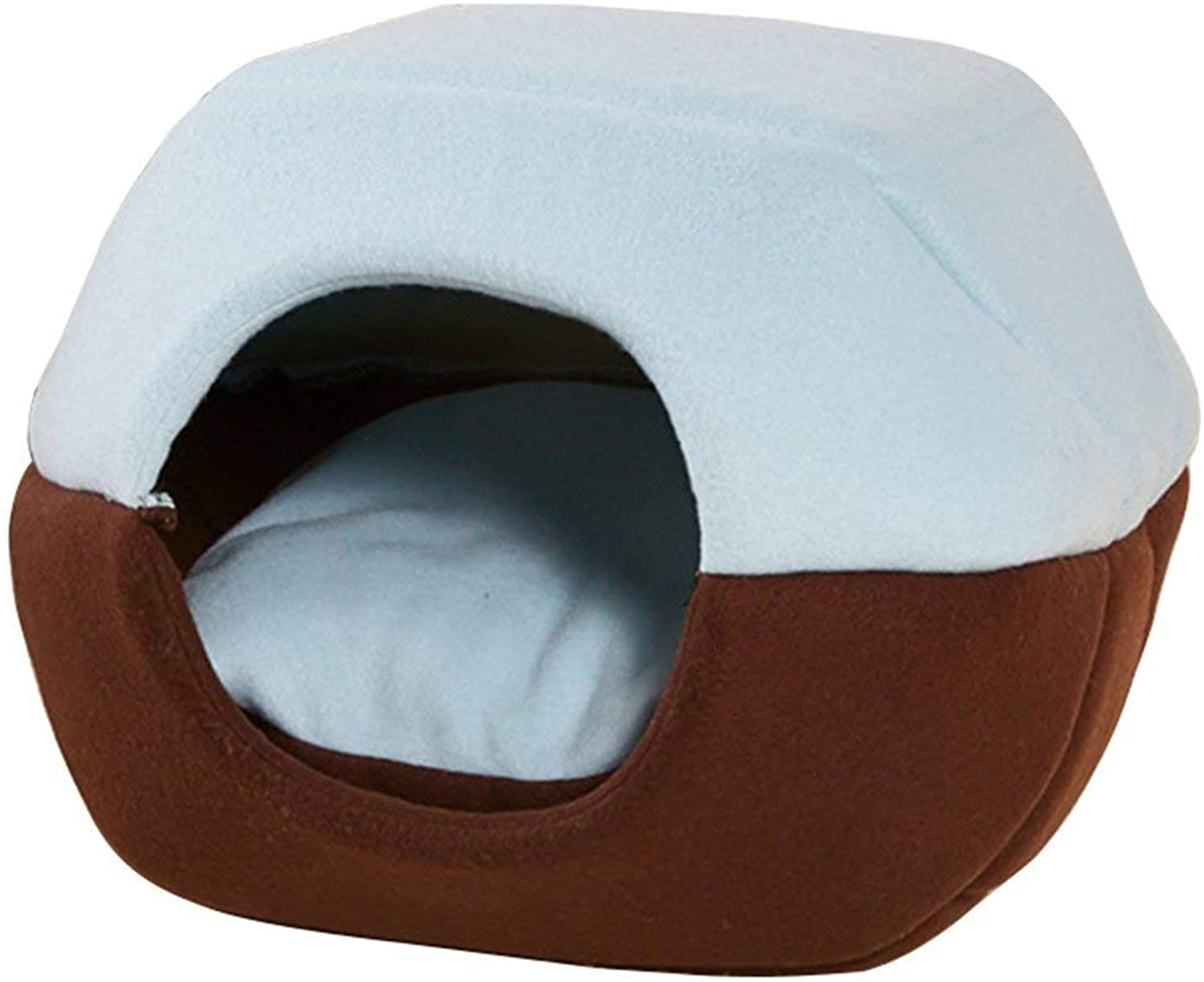 Pet Bed, 2 in 1 Comfortable Soft Cat Litter Cave, Windproof Dog House Warm Hidden Cat Sleeping Bag, Detachable Cushion,bluee+Brown,S