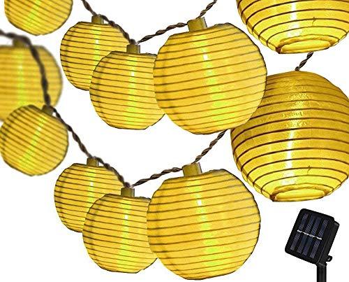 LED Lampion Lichterkette Außen, 30er LED Lichterketten Gartenlaterne Deko, Solarbetrieben Lichterkette Dekoration für Garten, Hof, Hochzeit, Fest Deko Warmweiß [Energieklasse A++]
