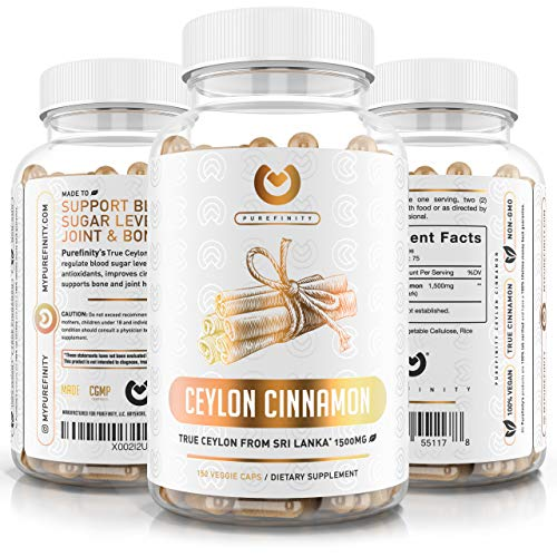 Ceylon Cinnamon Capsules - 1500mg Pure Cinnamon from Sri Lanka to Promote Joint Health, Healthy Blood Sugar Levels & Powerful Antioxidants. 150 Vegan, Non-GMO Capules (75 Day Supply)
