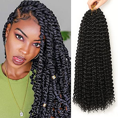 Passion Twist Hair,6 paquetes extensiones de pelo18 pulgadas pelo para trenzas africanas extensiones de pelo, trenzas postizas YDDM Passion Twist Crochet Hair,pelo sintetico para trenzas(1B#,
