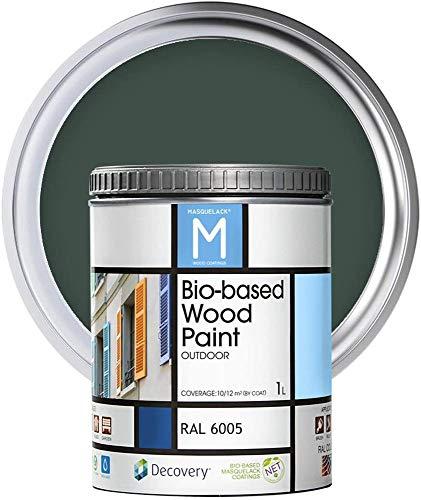 Pintura para Madera | Color Verde | Bio-based Wood Paint RAL 6005 | 1 L | Para todo tipo de Madera | Pintura madera exterior con un aspecto de acabado semi mate cálido y sedoso