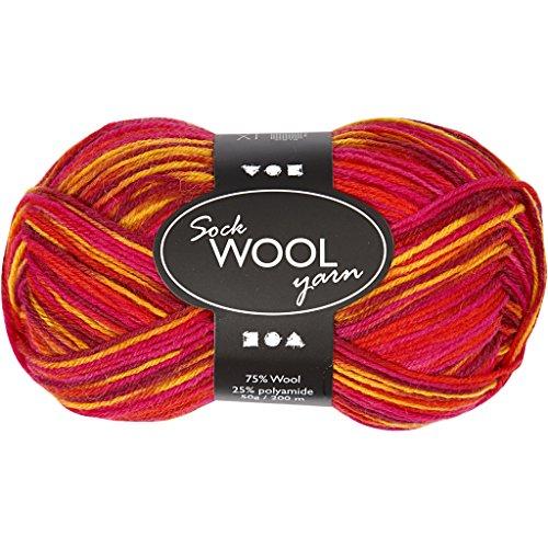 Sockenwolle L 200m rot/orange harmony 50g