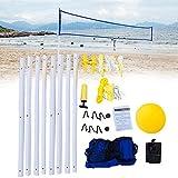 Juego de red y pelota de voleibol KOET, sistema de red de voleibol portátil ajustable, fácil de montar, conjunto de deportes para playa al aire libre, color como en la imagen, tamaño Tamaño libre