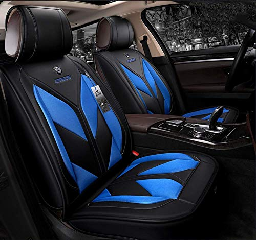 ZHANGTAOLF Auto Seat Covers, Anti-Slip Car Interior Seat Covers Cushion Protector, Breathable PU Leather Car Seat Cover Full Set for SUV, Midsize Sedan, Most of 5 seat car, Airbag Compatible,Blue