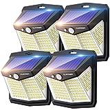 Claoner Luz Solar Exterior【128 LED/ 3 Modos】Luces LED Solar Exterior con Sensor de Movimiento Aplique Lampara 270º lluminación IP65 Impermeable Focos Solares para Exterior, Patio y Jardín