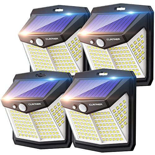 Claoner Luz Solar Exterior【128 LED/ 3 Modos】Luces LED Solar Exterior con Sensor de Movimiento Aplique Lampara 270º lluminación IP65 Impermeable Focos Solares para Exterior, Patio y Jardín 🔥