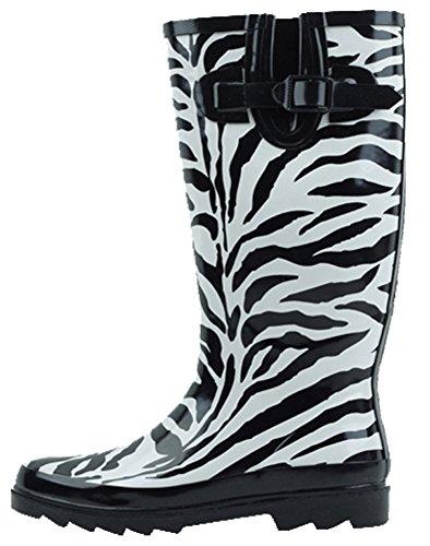 Cambridge Select Women's Pattern Print Colorful Waterproof Welly Rain Boots,9 M US,Zebra