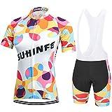 SUHINFE Conjunto Ciclismo Verano, Maillot Ciclismo Mujer Culotte Bicicleta con 5D Gel Pad para Deportes al Aire Libre Ciclo Bicicleta, Multicolor, M