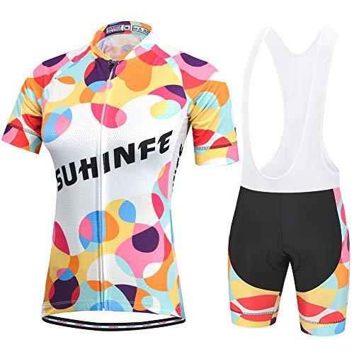 SUHINFE Maglia Ciclismo Donna Manica Corta, Abbigliamento Sportivo da Ciclismo con Pantaloni Ciclismo Salopette Asciugatura Rapida per MTB Ciclista, XS