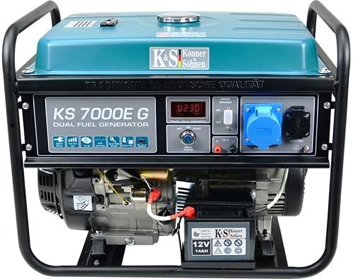 Könner & Söhnen KS 7000E G - Hybrid Benzin-LPG 4-Takt Stromerzeuger,Kupfer Generatoren 5500 Watt,1x16A,1x32A,E-Start, Automatischer Spannungsregler 230V, Generator für Haus,Garage oder Werkstatt