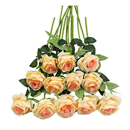 Tifuly 12 PCS Künstliche Rosen, 19,68 '' Single Long Stem Fake Rose Seide Braut Hochzeitsstrauß Realistische Blume für Hausgarten Party Hotel Büro Dekor (Blüten Rosen, Champagner)