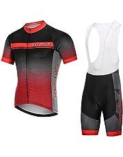 SKYSPER Trykot kolarski męski trykot z krótkim rękawem, odzież rowerowa, zestaw outdoorowy do uprawiania sportu, jazdy na rowerze, spodenki rowerowe i koszulka