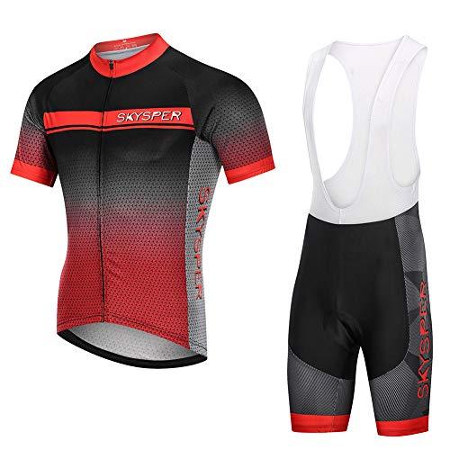 SKYSPER Ciclismo Maillot Hombres Jersey + Pantalones Cortos Culote Mangas Cortas de Ciclismo Conjunto Ropa Equipacion 3D Gel Acolchado Transpirable Verano para Deportes al Aire Libre Ciclo Bicicleta