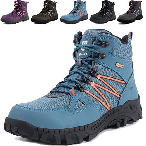 SUADEX Zapatos de Seguridad Hombre Mujer Bota de Seguridad Ligero Zapatillas de Seguridad Hombre Trabajo Zapatos de Trabajo Antideslizante Transpirables Industriales,Azul,42EU