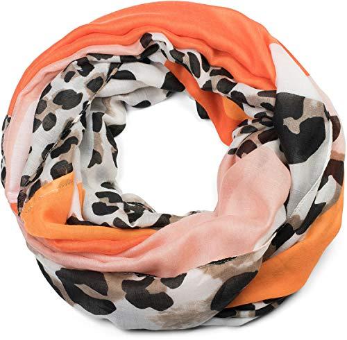 styleBREAKER Damen Loop Schal mit Leoparden Animal Print Muster und Color Blocking Farbflächen, Schlauchschal, Tuch 01016182, Farbe:Orange-Rose
