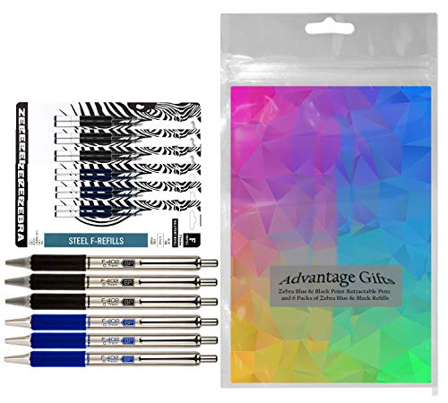 Zebra F-402 Ballpoint Stainless Steel Retractable Pens With Refills, Fine Point, 0.7mm, Black/Blue Ink, 12-Count Bundle with Plastic Reusable Pouch