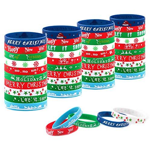 50 Piezas Pulsera Navideña Pulseras de Silicona Pulseras de Goma para la Fiesta de Navidad Decoración Suministros 5 Felices Patrones de Navidad