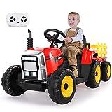 METAKOO Tractor Eléctrico 12V 7Ah 2+1 Cambio de Marchas, Tractor Juguete de Montar con Faro de 7 LED, Botón de Bocina/Reproductor MP3/ Bluetooth/Puerto USB/Control Remoto para Niño 3-6 años (Rojo)