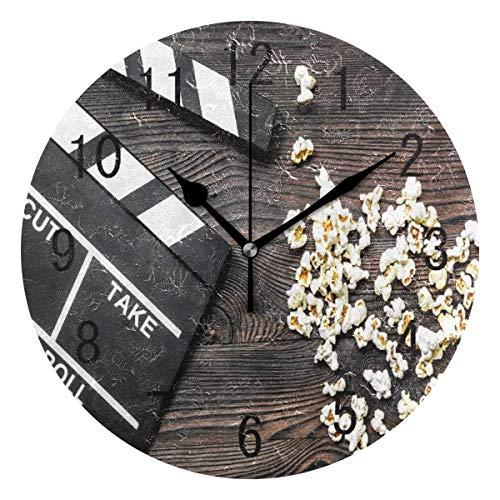 zhengdengshuibaihuodian Wohnkultur Filmklappe auf Holz Runde Acryl 9 Zoll Wanduhr Nicht Ticken Stille Uhr Kunst für Wohnzimmer Küche Schlafzimmer