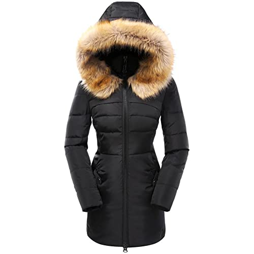 70307b7ea30bf Beinia Valuker Women s Down Coat with Fur Hood with 90% Down Parka Puffer  Jacket