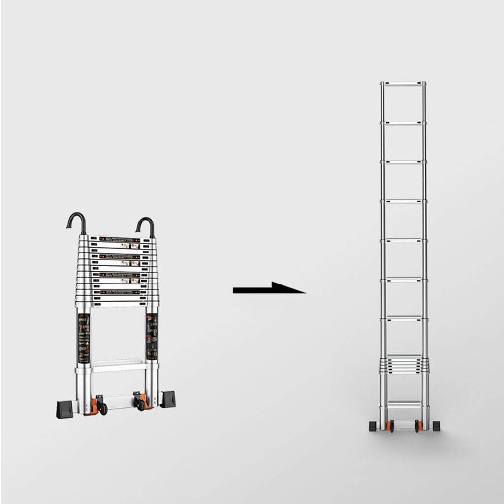 DZWSD Escalera telescópica de Aluminio con Gancho Desmontable estabilizador Telescópico Escalera Recta De múltiples Fines escaleras portátil Capacidad de Carga hasta 150 kg: Amazon.es: Hogar