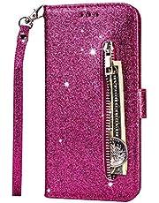 Fanxwu Cover Compatible con Funda Samsung Galaxy S10(4G) Glitter Brillante PU Cuero Cartera con Cremallera y Ranura Tarjetas Libro Tapa Flip Case - Rojo