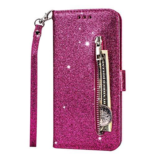 Fanxwu Kompatibel mit Huawei P30 Hülle Glitzer Reißverschluss Brieftasche Cover mit Trageschlaufe Folio Flip Leder Multifunktionale Handyhülle - Rot