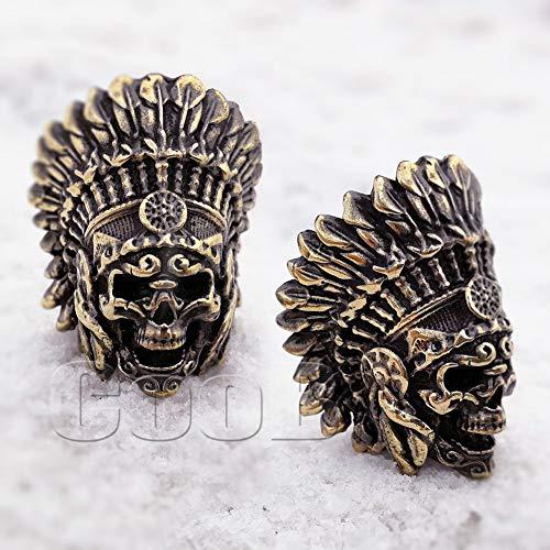 CooB EDC Paracord Bead Pendant, Charm Zipper Pul DIY Hand-Casted Beads Pendants for Paracord Bracelet Lanyard Celtic Zombie Pirate Blackbeard Skull Joker (1pcs/Lot) (Indian Skull Bronze)