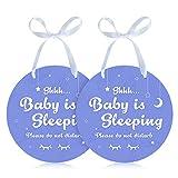 Magicfour Baby Sleeping Signs, Do Not Disturb Signs, 2 Pack Plastic Shhh Baby Sleeping Signs Baby Sleeping Door Hanger Signs Please Do Not Disturb Door Hanger Signs for Baby Sleeping