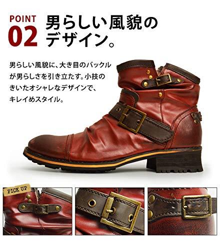 『[ジーノ] ドレープ エンジニアブーツ ショートブーツ ワークブーツ ブーツ サイドジップ メンズ 靴』の4枚目の画像