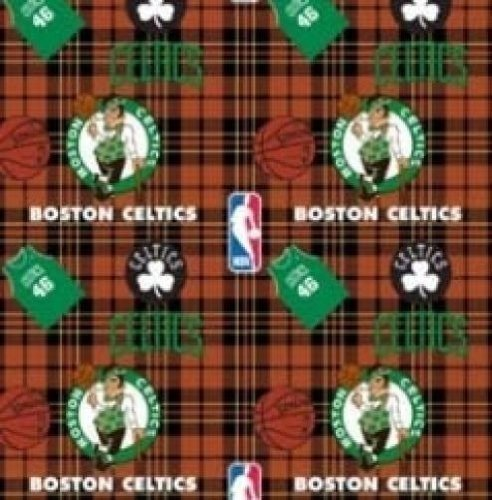 Fleece (not for masks) Boston Celtics Plaid NBA Basketball Sports Team Fleece Fabric Print by The Yard (A609.05)