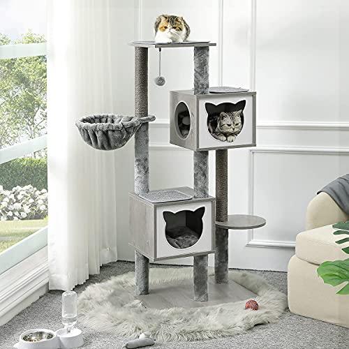 MSmask Kratzbaum für Katzen, Stabiler katzenbaum mit Kratzsisal , 136cm Kratzbaum mit 2 Eigentumswohnungen und Korb (Grau)