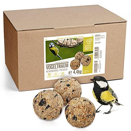 wildtier herz I Boule de Graisse - Sans Filet I Alimentation Idéale pour Oiseaux Sauvages I Carton 50 Boules de Graisses 4.4kg