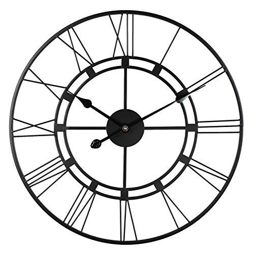 WXHXSRJ Reloj de Pared de Metal Vintage, Reloj de Pared Redondo silencioso con números Romanos, para Sala de Estar, Dormitorio, decoración de Cocina,Negro,40cm