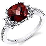 Peora Garnet Ring in 14K White Gold, Solitaire Cushion Shape, 8mm, 2.50 Carats, Size 5