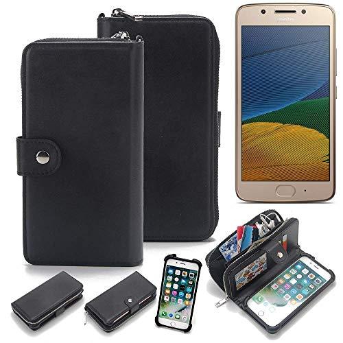 K-S-Trade 2in1 Handyhülle Für Lenovo Moto G5 Dual-SIM Schutzhülle und Portemonnee Schutzhülle Tasche Handytasche Hülle Etui Geldbörse Wallet Bookstyle Hülle Schwarz (1x)