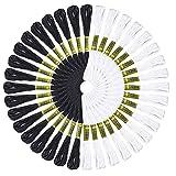 48 madejas de hilo de punto de cruz de algodón blanco y negro bordado de hilo de amistad, pulseras de hilo para tejer, proyecto de punto de cruz