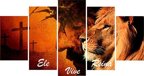 Quadro Decorativo Leão de Judá Ele Vive Reina Sala Quarto