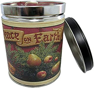 Our Own Candle Company Cranberry Orange Spice Scented Candle in 13 Ounce Tin with a Peace on Earth Label