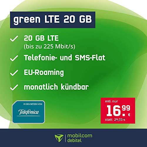 Handyvertrag green LTE 20 GB - Internet Flat, Allnet Flat Handyie und SMS in alle Deutschen Netze, EU-Roaming, monatlich kündbar