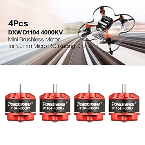 Ballylelly-Brushless Motor, 4 Stücke DXW D1104 4000KV 1-3 S Mini 1,5mm Brushless Motor für 90mm Micro RC Racing Drone Multicopter Quadcopter Aircraft UVA